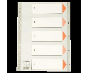Index Esselte, plastic, A4, 1-5, gri