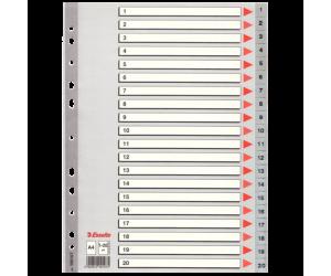 Index Esselte, plastic, A4, 1-20, gri