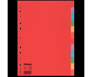 Separatoare Esselte, carton, A4, 12 taste, multicolor
