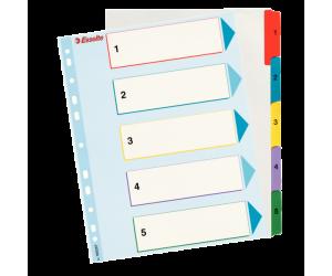 Index Esselte, reinscriptibil, carton cu taste laminate, A4, 1-5, multicolor