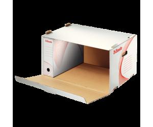 Container arhivare si transport Esselte Standard, deschidere laterala, carton, alb