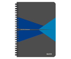 Caiet de birou Leitz Office, carton laminat, coperta flexibila, A5, 90 coli, cu spira, matematica, albastru