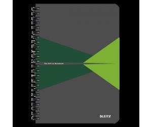 Caiet de birou Leitz Office, carton laminat, coperta flexibila, A5, 90 coli, cu spira, matematica, verde