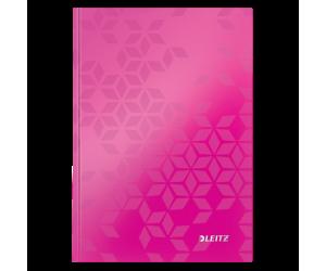 Caiet de birou Leitz WOW, carton laminat, coperta dura, A5, 80 coli, dictando, roz