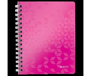 Caiet de birou Leitz WOW, PP, A5, 80 coli, cu spira, dictando, roz