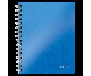 Caiet de birou Leitz WOW, PP, A5, 80 coli, cu spira, matematica, albastru