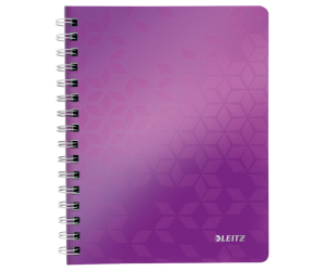 Caiet de birou Leitz WOW, PP, A5, 80 coli, cu spira, matematica, mov