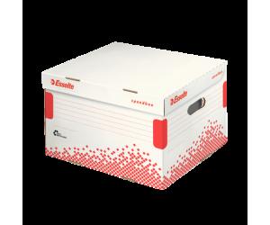 Container arhivare si transport Esselte Speedbox, cu capac, carton, dimensiune L, alb