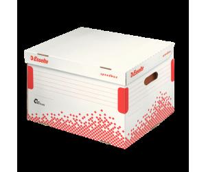 Container arhivare si transport Esselte Speedbox, pentru bibliorafturi, carton, alb